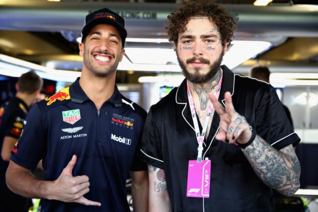 Afscheid Ricciardo bij Red Bull: Een nieuwe helm en Post Malone op bezoek